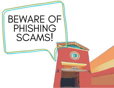 "Image of City Hall with Speech Bubble that says ""beware of phishing scams!"""